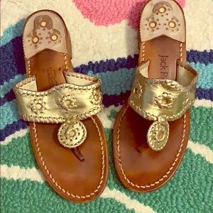Gold Jack Rogers leather sandals